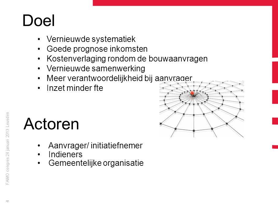 FAMO congres 24 januari 2013 Leusden 4 Doel Vernieuwde systematiek Goede prognose inkomsten Kostenverlaging rondom de bouwaanvragen Vernieuwde samenwe