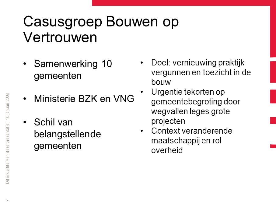 Casusgroep Bouwen op Vertrouwen Samenwerking 10 gemeenten Ministerie BZK en VNG Schil van belangstellende gemeenten Doel: vernieuwing praktijk vergunn