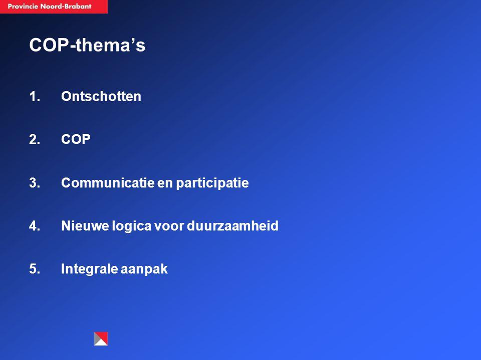 COP-thema's 1.Ontschotten 2.COP 3.Communicatie en participatie 4.Nieuwe logica voor duurzaamheid 5.Integrale aanpak