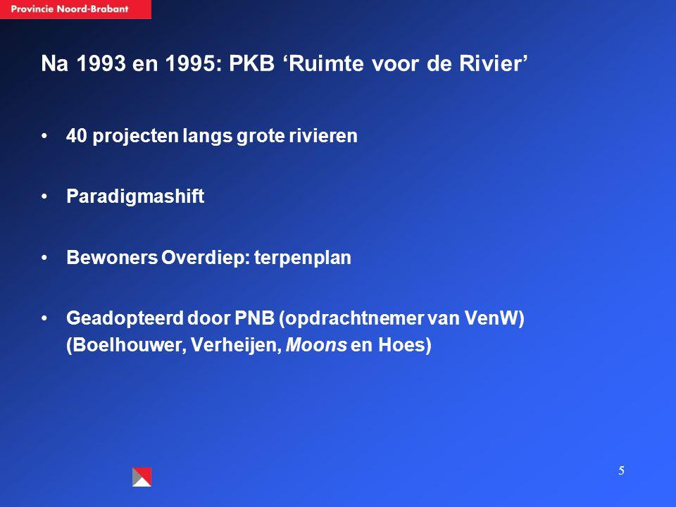 Na 1993 en 1995: PKB 'Ruimte voor de Rivier' 40 projecten langs grote rivieren Paradigmashift Bewoners Overdiep: terpenplan Geadopteerd door PNB (opdrachtnemer van VenW) (Boelhouwer, Verheijen, Moons en Hoes) 5