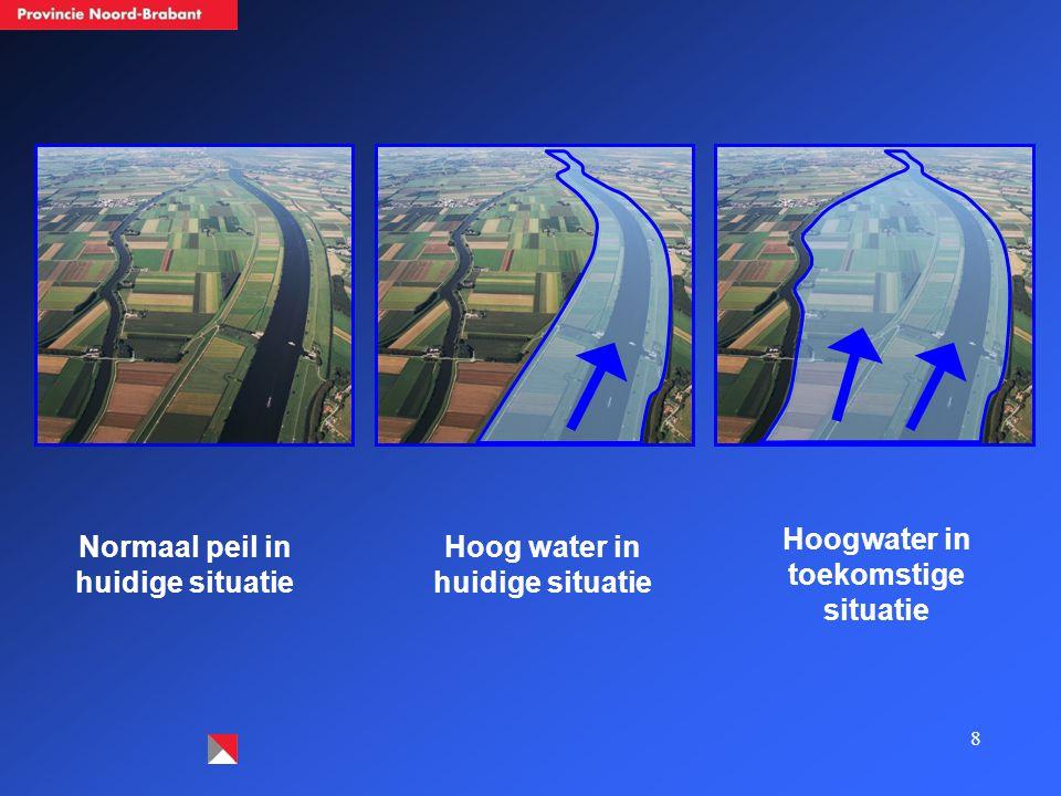 8 Normaal peil in huidige situatie Hoog water in huidige situatie Hoogwater in toekomstige situatie