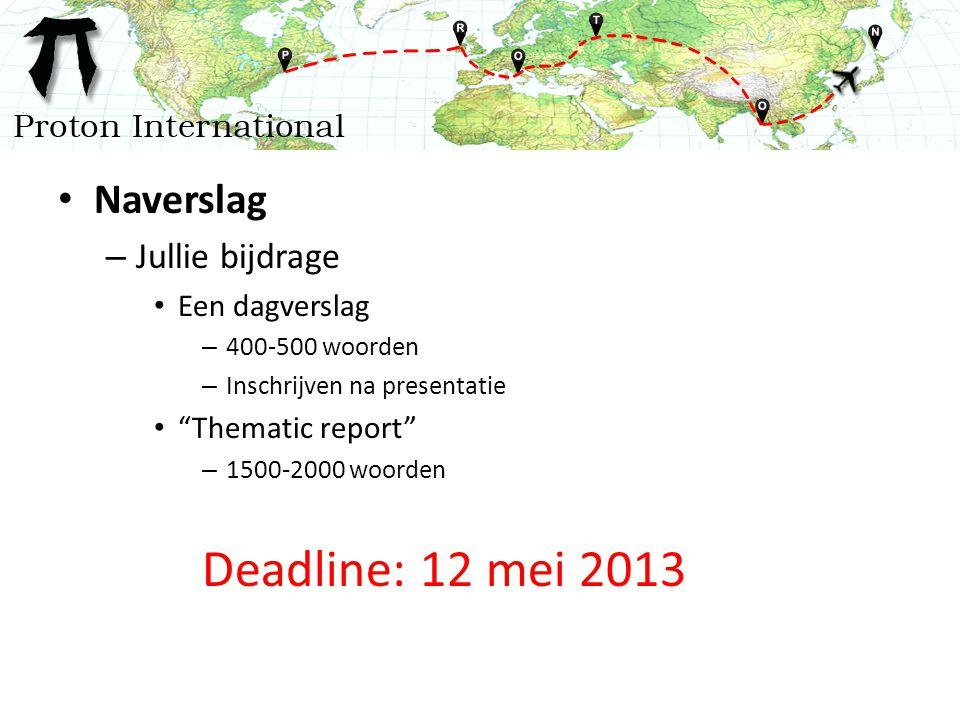 Naverslag – Jullie bijdrage Een dagverslag – 400-500 woorden – Inschrijven na presentatie Thematic report – 1500-2000 woorden Deadline: 12 mei 2013