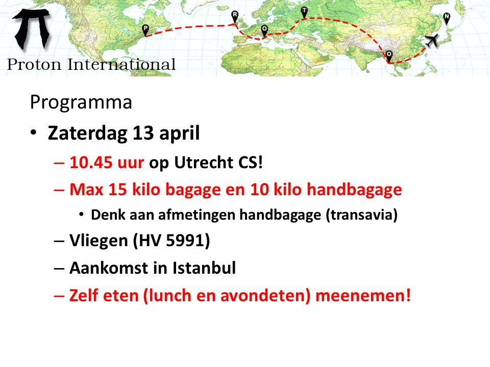Programma Zaterdag 13 april – 10.45 uur op Utrecht CS.