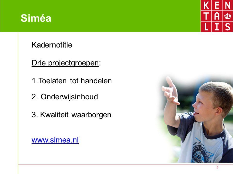 3 Siméa Kadernotitie Drie projectgroepen: 1.Toelaten tot handelen 2. Onderwijsinhoud 3. Kwaliteit waarborgen www.simea.nl