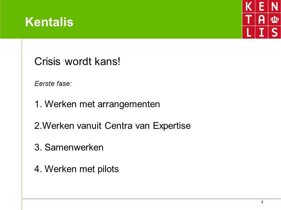 4 Kentalis Crisis wordt kans! Eerste fase: 1. Werken met arrangementen 2.Werken vanuit Centra van Expertise 3. Samenwerken 4. Werken met pilots
