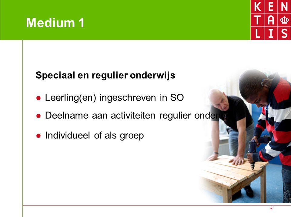 6 Medium 1 Speciaal en regulier onderwijs ● Leerling(en) ingeschreven in SO ● Deelname aan activiteiten regulier onderwijs ● Individueel of als groep