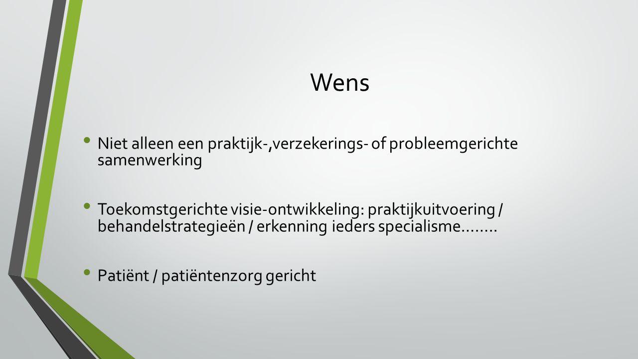 Wens Niet alleen een praktijk-,verzekerings- of probleemgerichte samenwerking Toekomstgerichte visie-ontwikkeling: praktijkuitvoering / behandelstrategieën / erkenning ieders specialisme……..