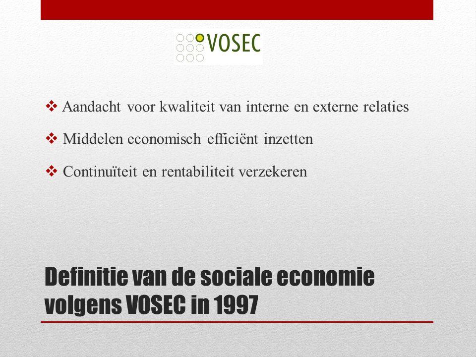 Definitie van de sociale economie volgens VOSEC in 1997  Aandacht voor kwaliteit van interne en externe relaties  Middelen economisch efficiënt inzetten  Continuïteit en rentabiliteit verzekeren