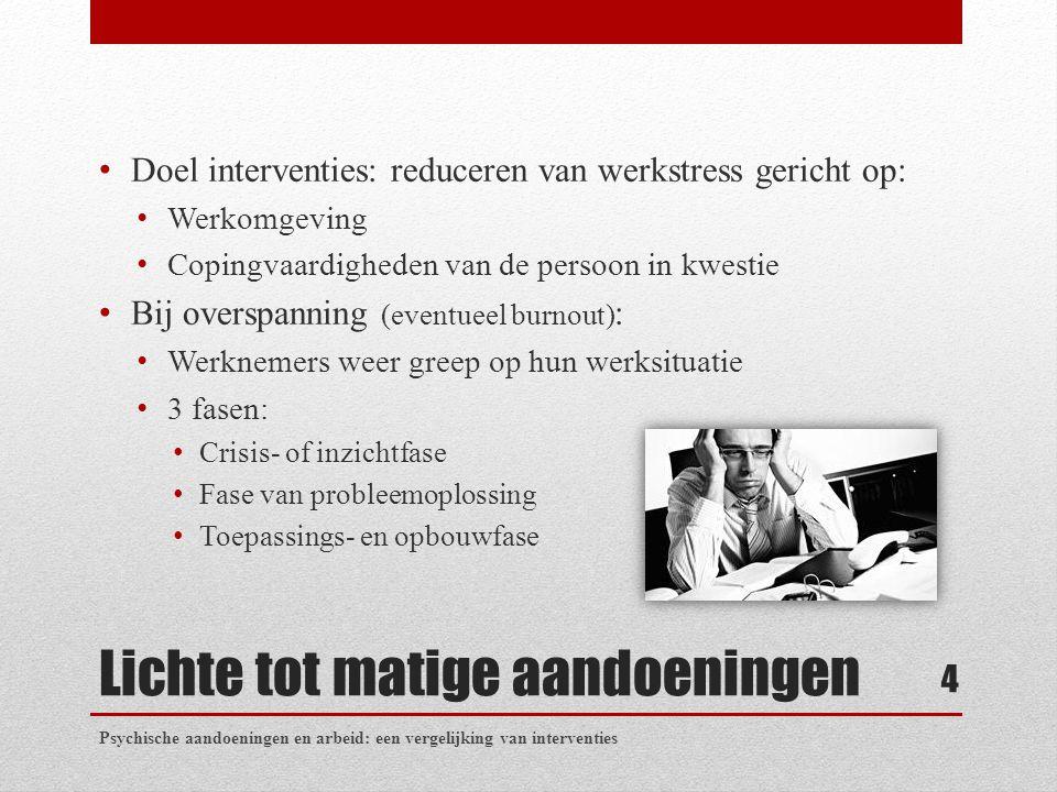 Lichte tot matige aandoeningen Doel interventies: reduceren van werkstress gericht op: Werkomgeving Copingvaardigheden van de persoon in kwestie Bij o