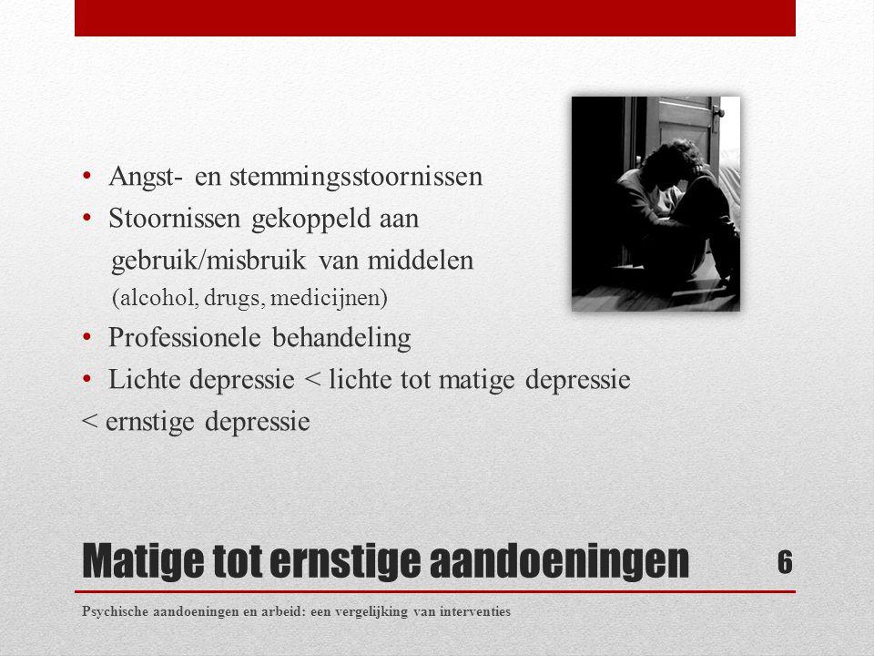 Matige tot ernstige aandoeningen Angst- en stemmingsstoornissen Stoornissen gekoppeld aan gebruik/misbruik van middelen (alcohol, drugs, medicijnen) P