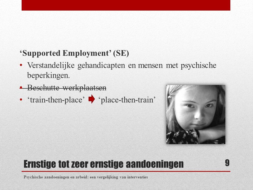 Ernstige tot zeer ernstige aandoeningen 'Supported Employment' (SE) Verstandelijke gehandicapten en mensen met psychische beperkingen. Beschutte werkp