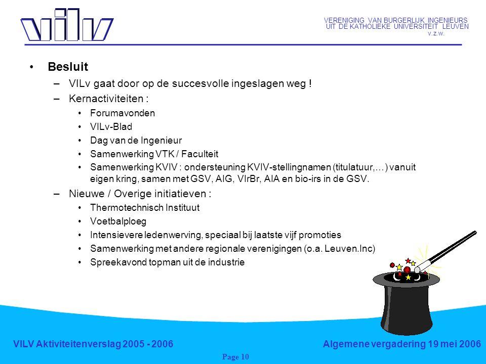 VERENIGING VAN BURGERLIJK INGENIEURS UIT DE KATHOLIEKE UNIVERSITEIT LEUVEN v.z.w. VILV Aktiviteitenverslag 2005 - 2006Algemene vergadering 19 mei 2006
