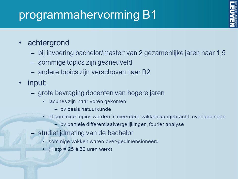 programmahervorming B1 achtergrond –bij invoering bachelor/master: van 2 gezamenlijke jaren naar 1,5 –sommige topics zijn gesneuveld –andere topics zi