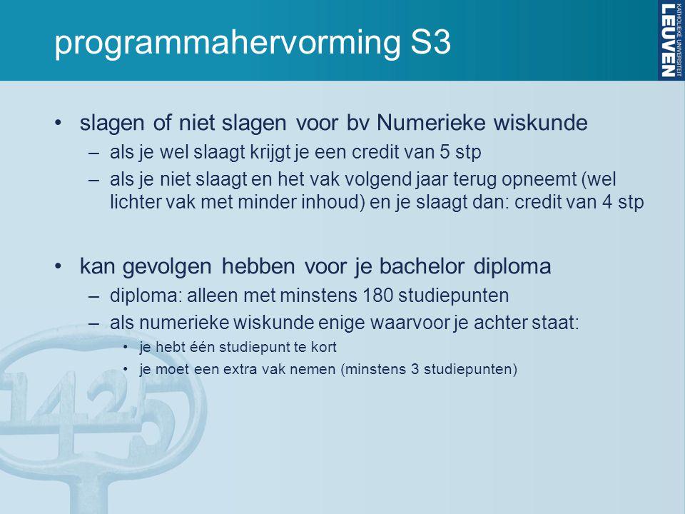 programmahervorming S3 slagen of niet slagen voor bv Numerieke wiskunde –als je wel slaagt krijgt je een credit van 5 stp –als je niet slaagt en het v
