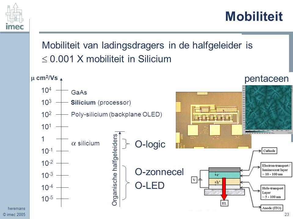 © imec 2005 heremans 23 Mobiliteit Mobiliteit van ladingsdragers in de halfgeleider is  0.001 X mobiliteit in Silicium 10 4 10 3 10 2 10 1 1 10 -1 10 -2 10 -3 10 -4 10 -5 Silicium (processor) GaAs Poly-silicium (backplane OLED)  silicium Organische halfgeleiders O-zonnecel O-LED O-logic  cm 2 /Vs pentaceen