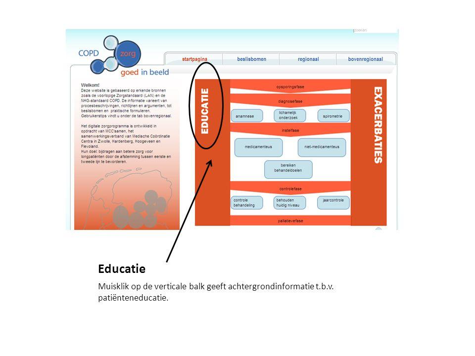 Educatie Muisklik op de verticale balk geeft achtergrondinformatie t.b.v. patiënteneducatie.