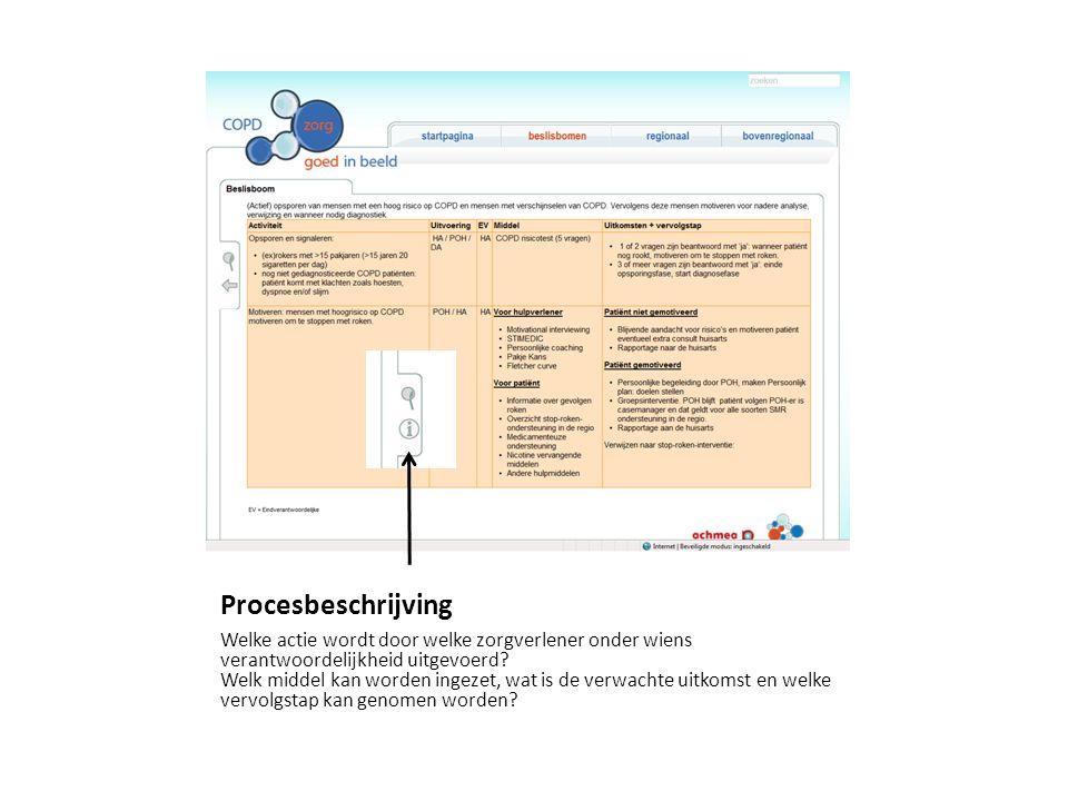 Procesbeschrijving Welke actie wordt door welke zorgverlener onder wiens verantwoordelijkheid uitgevoerd.