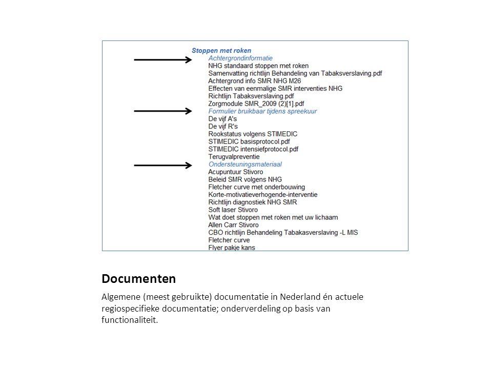 Documenten Algemene (meest gebruikte) documentatie in Nederland én actuele regiospecifieke documentatie; onderverdeling op basis van functionaliteit.