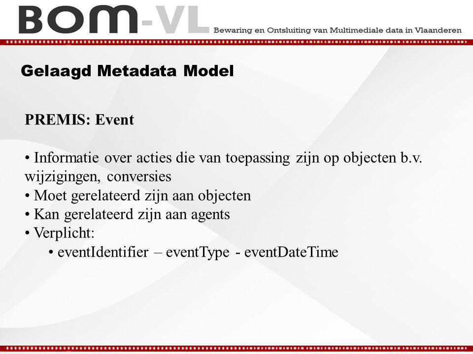 Gelaagd Metadata Model PREMIS: Event Informatie over acties die van toepassing zijn op objecten b.v.