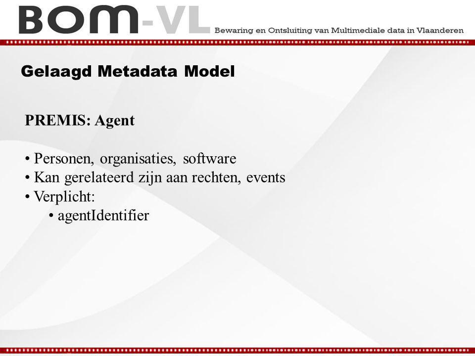 Gelaagd Metadata Model PREMIS: Agent Personen, organisaties, software Kan gerelateerd zijn aan rechten, events Verplicht: agentIdentifier