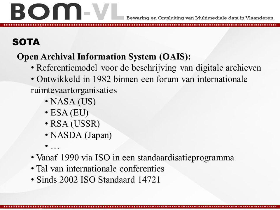 SOTA Open Archival Information System (OAIS): Referentiemodel voor de beschrijving van digitale archieven Ontwikkeld in 1982 binnen een forum van internationale ruimtevaartorganisaties NASA (US) ESA (EU) RSA (USSR) NASDA (Japan) … Vanaf 1990 via ISO in een standaardisatieprogramma Tal van internationale conferenties Sinds 2002 ISO Standaard 14721