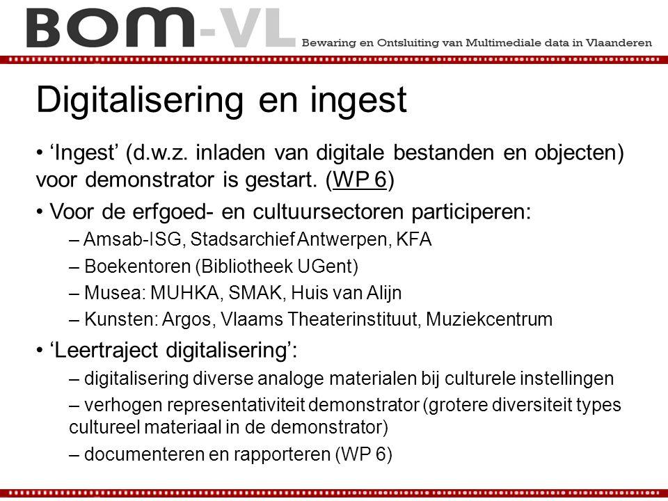 Digitalisering en ingest 'Ingest' (d.w.z.