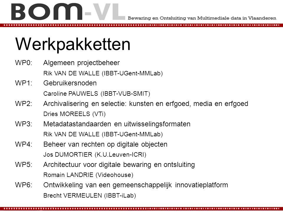 Werkpakketten WP0: Algemeen projectbeheer Rik VAN DE WALLE (IBBT-UGent-MMLab) WP1: Gebruikersnoden Caroline PAUWELS (IBBT-VUB-SMIT) WP2: Archivalisering en selectie: kunsten en erfgoed, media en erfgoed Dries MOREELS (VTi) WP3: Metadatastandaarden en uitwisselingsformaten Rik VAN DE WALLE (IBBT-UGent-MMLab) WP4: Beheer van rechten op digitale objecten Jos DUMORTIER (K.U.Leuven-ICRI) WP5: Architectuur voor digitale bewaring en ontsluiting Romain LANDRIE (Videohouse) WP6: Ontwikkeling van een gemeenschappelijk innovatieplatform Brecht VERMEULEN (IBBT-iLab)