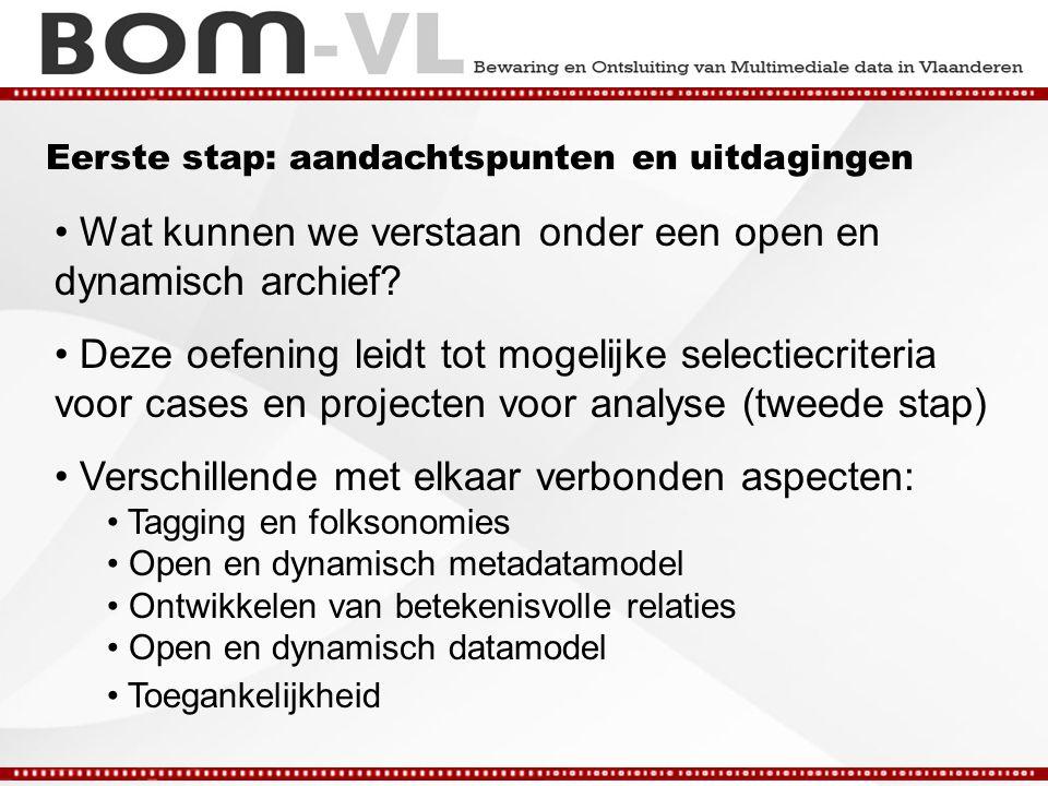 Eerste stap: aandachtspunten en uitdagingen Wat kunnen we verstaan onder een open en dynamisch archief.
