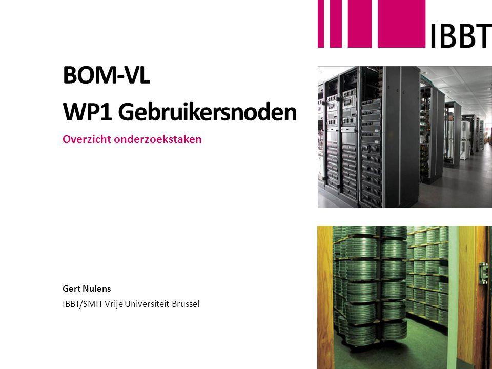 BOM-VL WP1 Gebruikersnoden Overzicht onderzoekstaken Gert Nulens IBBT/SMIT Vrije Universiteit Brussel