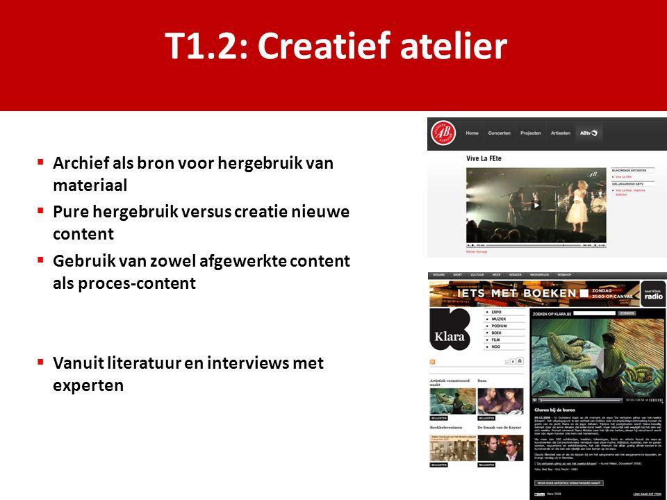 T1.2: Creatief atelier  Archief als bron voor hergebruik van materiaal  Pure hergebruik versus creatie nieuwe content  Gebruik van zowel afgewerkte content als proces-content  Vanuit literatuur en interviews met experten