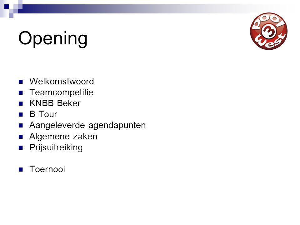 Opening Welkomstwoord Teamcompetitie KNBB Beker B-Tour Aangeleverde agendapunten Algemene zaken Prijsuitreiking Toernooi