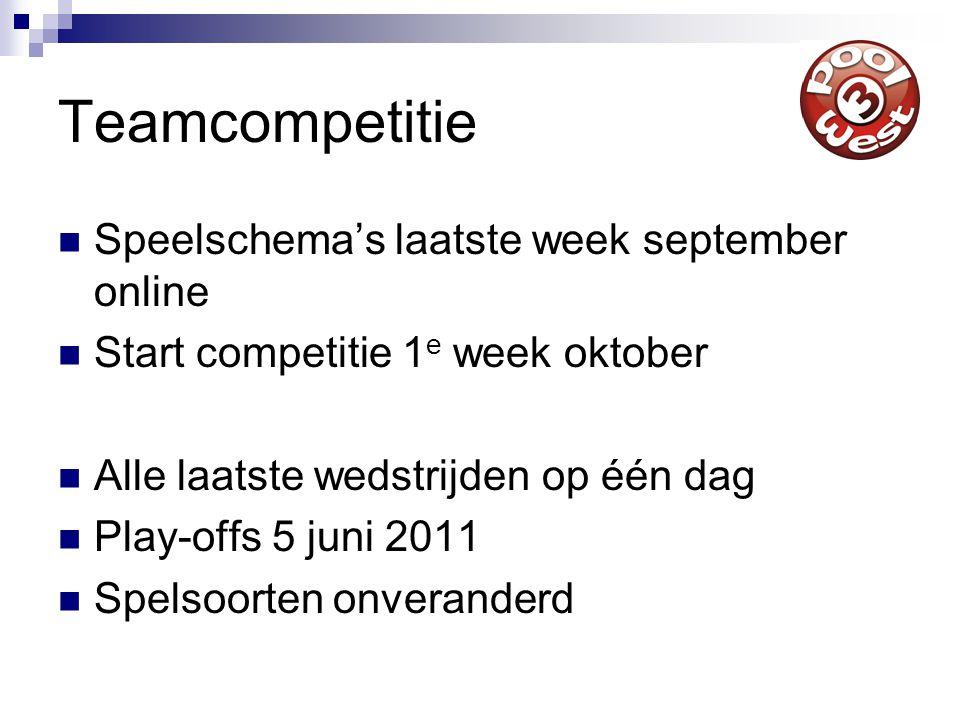 Teamcompetitie Speelschema's laatste week september online Start competitie 1 e week oktober Alle laatste wedstrijden op één dag Play-offs 5 juni 2011 Spelsoorten onveranderd