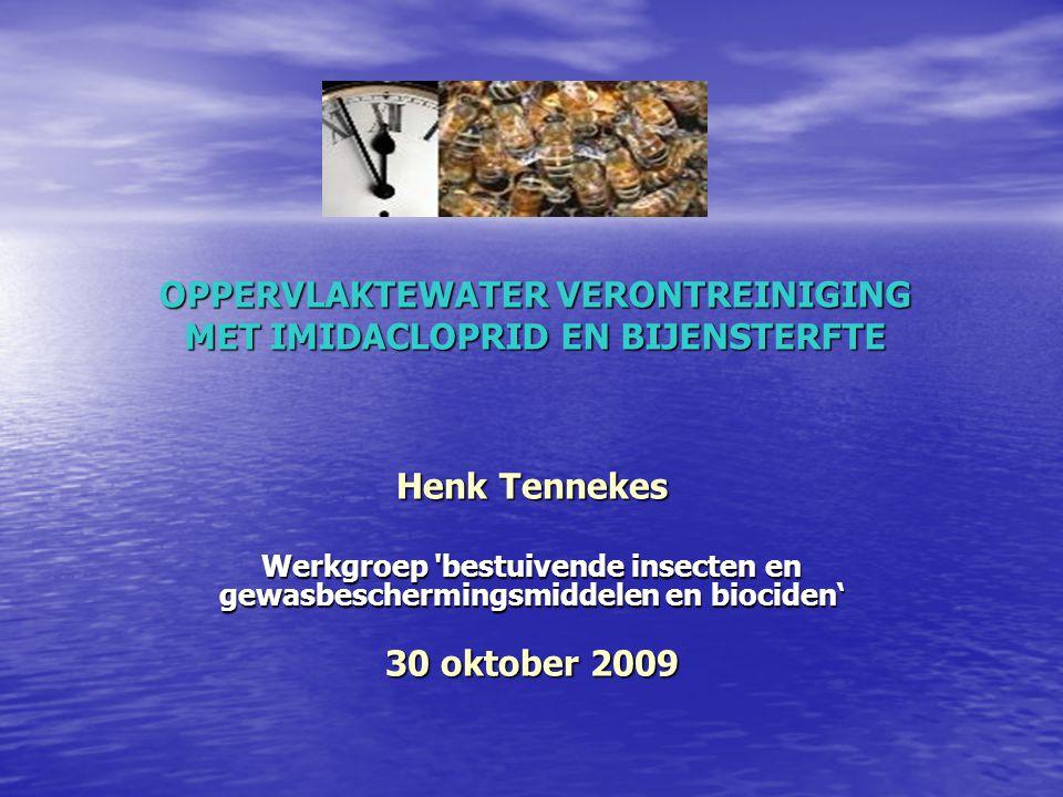 INSECTICIDEN IN HET OPPERVLAKTEWATER VAN RIJNMOND EN DE HOEKSCHE WAARD De metingen zijn afkomstig van de verschillende waterschappen en waterbeheerders Imidacloprid (MTR norm: 13 nanogram/L) BERKEL EN RODENRIJS (4-6-2006) : 168x MTR ; BERGSCHENHOEK (26-4-2006) : 131x MTR ; MAASLAND (4-5-2006) : 68x MTR ; MAASSLUIS (3-7--2007) : 29x MTR ; VLAARDINGEN (13-8-2007) : 100x MTR ; ROTTERDAM (4-5-2006) : 64x MTR ; OOSTVOORNE (14-5-2007) : 24x MTR ; ROCKANJE (12-7-2006) : 75x MTR ; SPIJKENISSE (29-5-2007) : 40x MTR ; OUDENHOORN (15-5-2006) : 72x MTR.