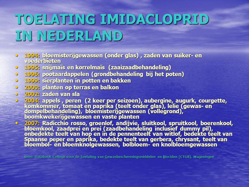 TOELATING IMIDACLOPRID IN NEDERLAND 1994: bloemisterijgewassen (onder glas), zaden van suiker- en voederbieten 1994: bloemisterijgewassen (onder glas)
