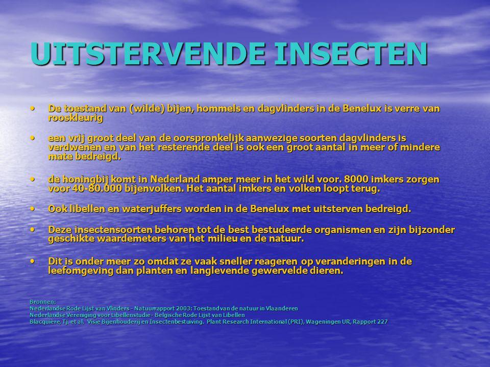 BLOOTSTELLING DOOR INWINTERING VAN BIJENVOLKEN MET DRINKWATER Het drinkwater in Nederland wordt bereid uit : oppervlaktewater (40%) en grondwater (60%) (Bron: RIVM) Het drinkwater in Nederland wordt bereid uit : oppervlaktewater (40%) en grondwater (60%) (Bron: RIVM) Huidige drinkwater norm voor imidacloprid: 100 nanogram per liter (Waterleidingbesluit) Huidige drinkwater norm voor imidacloprid: 100 nanogram per liter (Waterleidingbesluit) Oppervlaktewater meting in 2007 in Katwijk: 37.000 nanogram imidacloprid per liter = 370x keer boven de drinkwaternorm Bron: Centrum voor Milieuwetenschappen, Leiden (CML) Oppervlaktewater meting in 2007 in Katwijk: 37.000 nanogram imidacloprid per liter = 370x keer boven de drinkwaternorm Bron: Centrum voor Milieuwetenschappen, Leiden (CML) Bijenvolken krijgen in de winter vaak suikerwater gevoed, waarbij wel tot 10 liter drinkwater per volk per winter wordt geconsumeerd Bron: http://nl.wikipedia.org/wiki/Imker Bijenvolken krijgen in de winter vaak suikerwater gevoed, waarbij wel tot 10 liter drinkwater per volk per winter wordt geconsumeerd Bron: http://nl.wikipedia.org/wiki/Imker Met water dat aan de huidige drinkwater norm voldoet en een drinkwater consumptie van 10 L: import van 1000 nanogram imidacloprid per volk per winter Met water dat aan de huidige drinkwater norm voldoet en een drinkwater consumptie van 10 L: import van 1000 nanogram imidacloprid per volk per winter 0,1 nanogram veroorzaakt gedragseffecten bij een bij 4 nanogram zijn dodelijk voor een bij 0,1 nanogram veroorzaakt gedragseffecten bij een bij 4 nanogram zijn dodelijk voor een bij