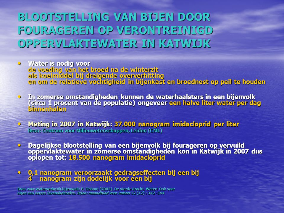 BLOOTSTELLING VAN BIJEN DOOR FOURAGEREN OP VERONTREINIGD OPPERVLAKTEWATER IN KATWIJK Water is nodig voor de voeding van het broed na de winterzit als