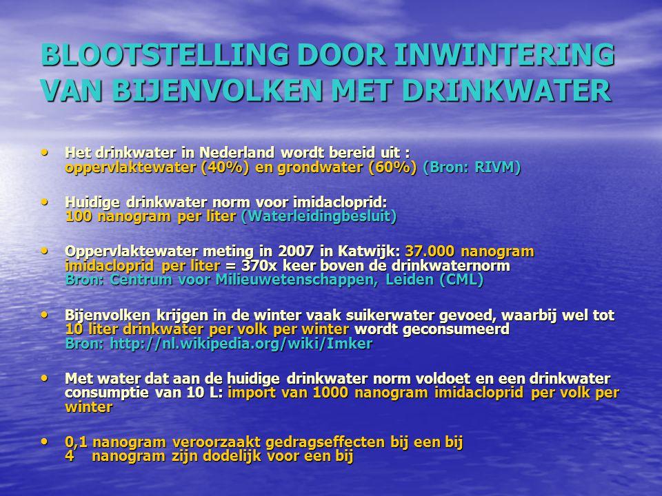 BLOOTSTELLING DOOR INWINTERING VAN BIJENVOLKEN MET DRINKWATER Het drinkwater in Nederland wordt bereid uit : oppervlaktewater (40%) en grondwater (60%