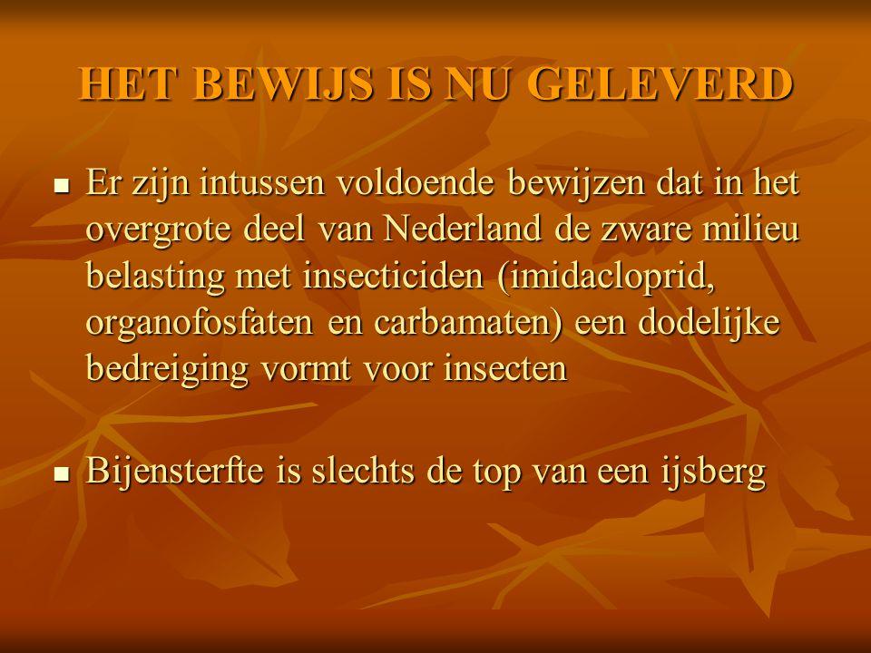 HET BEWIJS IS NU GELEVERD Er zijn intussen voldoende bewijzen dat in het overgrote deel van Nederland de zware milieu belasting met insecticiden (imid