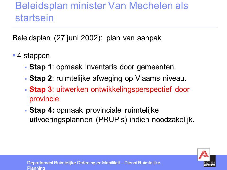 Departement Ruimtelijke Ordening en Mobiliteit – Dienst Ruimtelijke Planning Beleidsplan minister Van Mechelen als startsein Beleidsplan (27 juni 2002