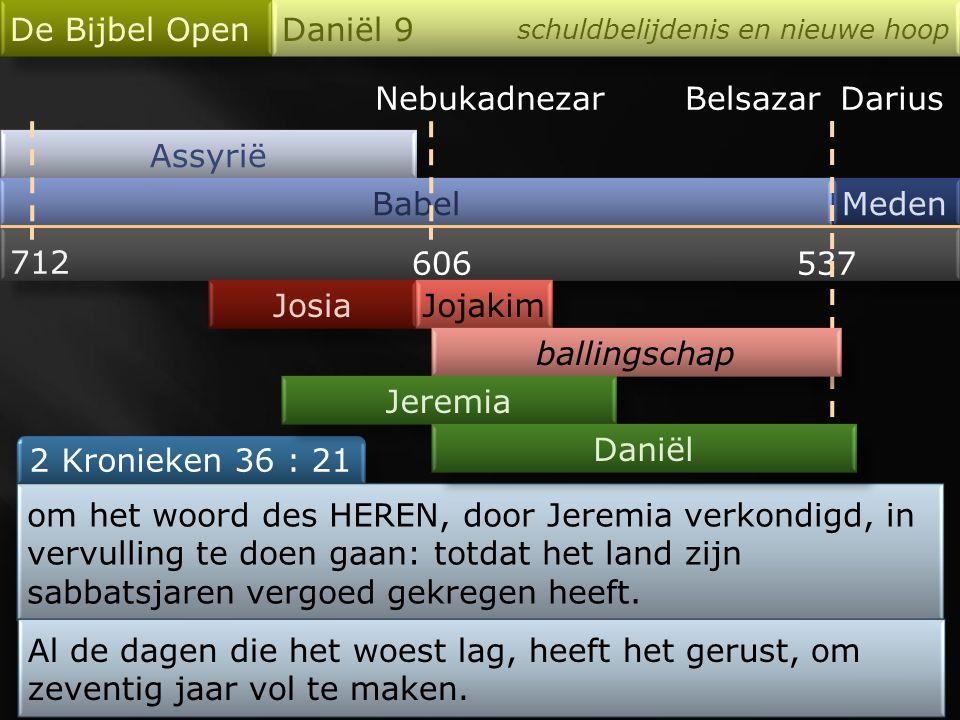 Nebukadnezar Assyrië Babel De Bijbel Open Daniël 9 schuldbelijdenis en nieuwe hoop Meden 712 606537 Josia 2 Kronieken 36 : 21 BelsazarDarius Jojakim b