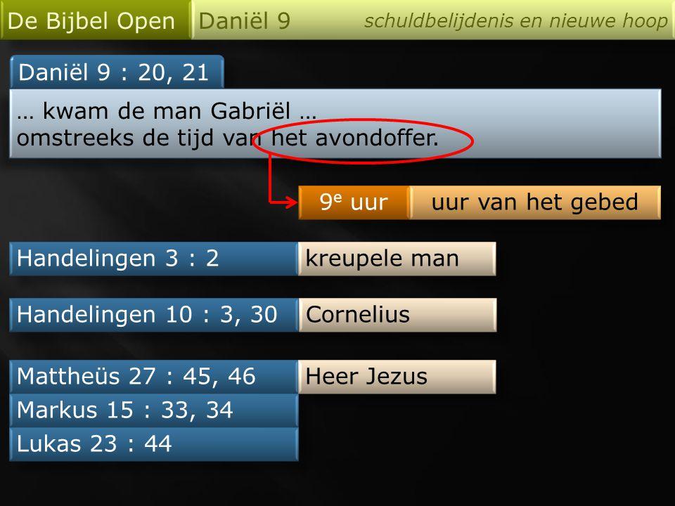 De Bijbel Open Daniël 9 schuldbelijdenis en nieuwe hoop Daniël 9 : 20, 21 … kwam de man Gabriël … omstreeks de tijd van het avondoffer. … kwam de man
