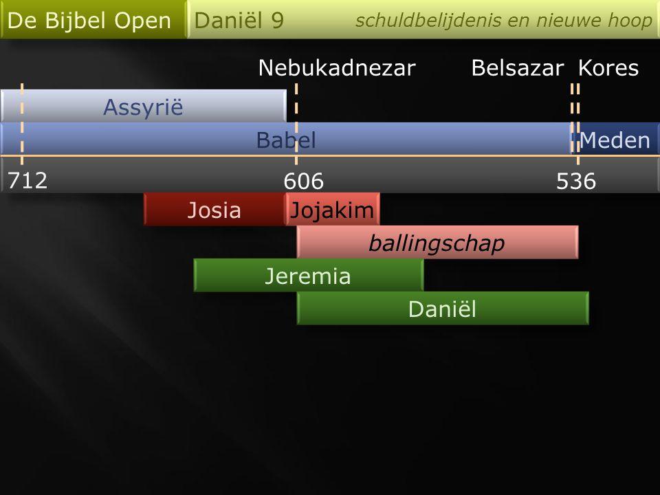 Nebukadnezar Assyrië Babel De Bijbel Open Daniël 9 schuldbelijdenis en nieuwe hoop Meden 712 606536 Josia BelsazarKores Jojakim ballingschap Jeremia D