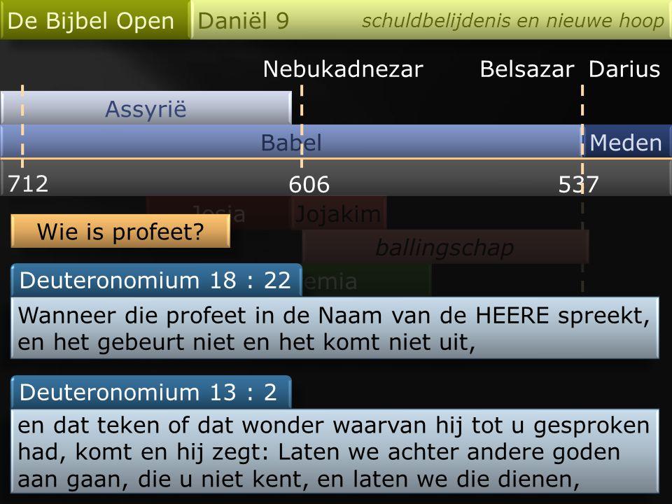 29 : 3 27 : 6 - 7 Nebukadnezar Assyrië Babel De Bijbel Open Daniël 9 schuldbelijdenis en nieuwe hoop Meden 712 606537 Josia Jeremia 25 : 8 - 12 BelsazarDarius Jojakim ballingschap … zullen de koning van Babel zeventig jaar dienen.