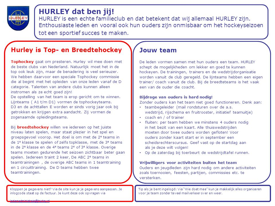 Hurley is Top- en Breedtehockey Tophockey gaat om presteren.