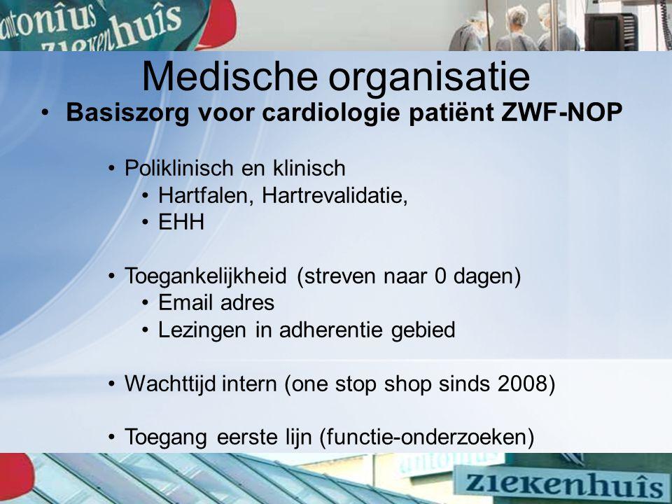 Medische organisatie Basiszorg voor cardiologie patiënt ZWF-NOP Poliklinisch en klinisch Hartfalen, Hartrevalidatie, EHH Toegankelijkheid (streven naa