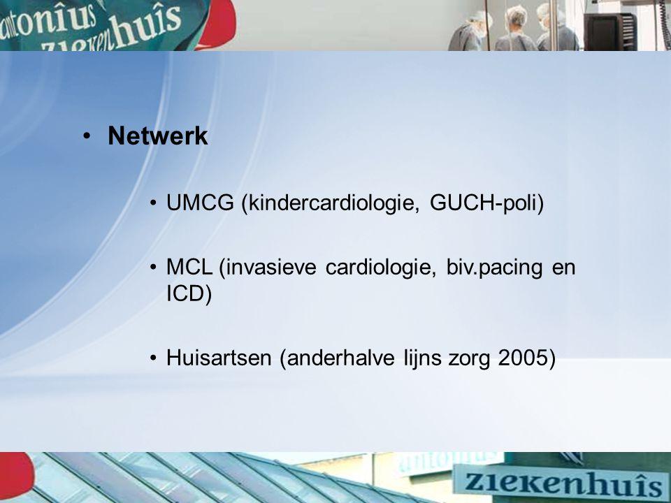 Netwerk UMCG (kindercardiologie, GUCH-poli) MCL (invasieve cardiologie, biv.pacing en ICD) Huisartsen (anderhalve lijns zorg 2005)