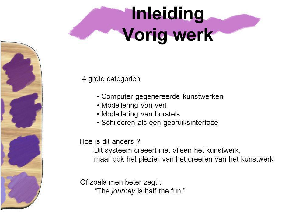 Inleiding Vorig werk 4 grote categorien Computer gegenereerde kunstwerken Modellering van verf Modellering van borstels Schilderen als een gebruiksinterface Hoe is dit anders .
