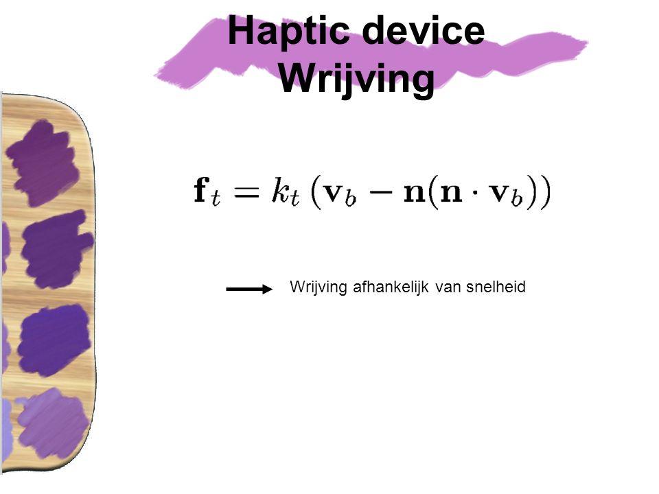 Haptic device Wrijving Wrijving afhankelijk van snelheid