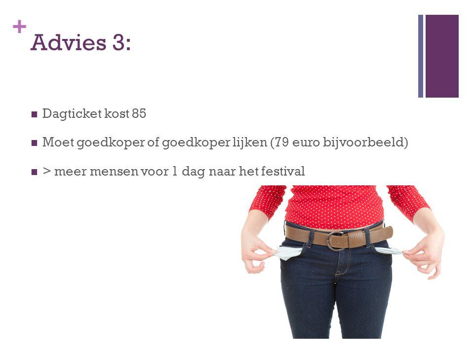 + Advies 3: Dagticket kost 85 Moet goedkoper of goedkoper lijken (79 euro bijvoorbeeld) > meer mensen voor 1 dag naar het festival