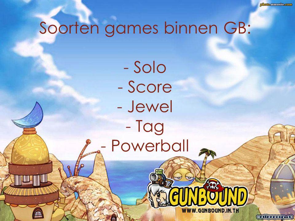 a Soorten games binnen GB: - Solo - Score - Jewel - Tag - Powerball